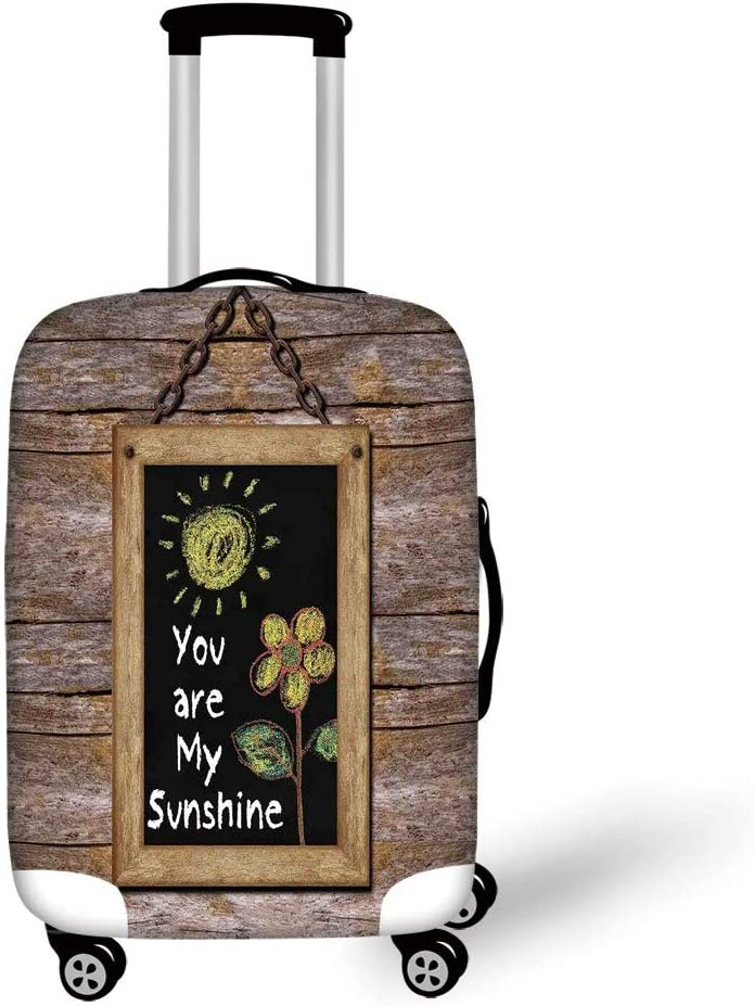 Travel Luggage Cover Suitcase Protector,Quotes Decor,Inspirational Phrase on Watercolors Irregular Set Motto Mindful Life Image,Yellow Black,for TravelL 25.9x37.8Inch