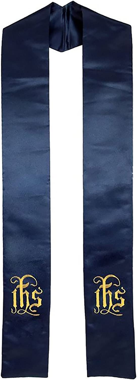 Clergy Stole Embroidered IHS, Deluxe Satin Navy bluee 94  Long