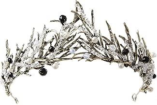 Vintage Princess Hair Crown Handmade Artificial Black Rhinestone Quinceanera Bridal Crown Wedding Tiaras Hair Accessory