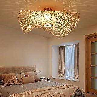 Rétro Lustres Lumière Naturelle De Bambou Et Plafonnier Rotin Vintage E27 Éclairage Plafond Tissées Main Pour Manger Chamb...