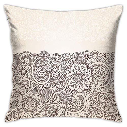 Home Funda de almohada con diseño complejo de henna con mandala y cachemira, inspirado en la naturaleza, tradicional victoriano renacimiento marrón