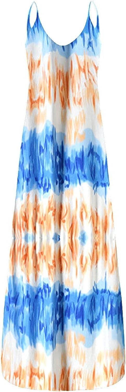 Tavorpt Dresses for Women, Women's Casual Summer V-Neck Elegant Flower Print Casual Maxi Long Dress Beach Sundress Dress