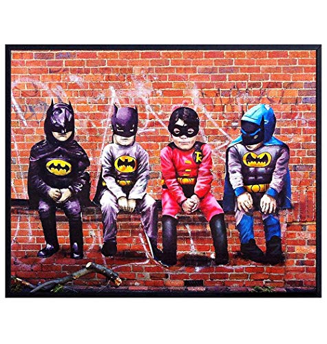 Poster of Kids in Batman and Robin Costumes Wall Art Print - 8x10 Gift for Justice League, Superheroes, Super Hero, Comic Book Fans - Graffiti Room Decor, Home Decorations for Boys Bedroom - UNFRAMED