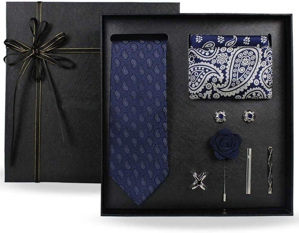 Men Tie and Bowtie Set Floral with Pocket Square Cufflinks Silk Necktie Men Necktie 100% Silk Neck Tie Set for Formal Wedding Business Party Set Gift Box Pack