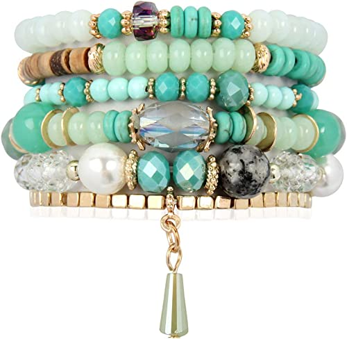 RIAH FASHION Bead Multi Layer Versatile Statement Bracelets - Stackable Beaded Strand Stretch Bangles Sparkly Crystal...