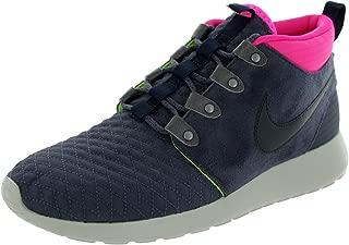 Mens Roshe Run Sneakerboot Gridiron/Dark Obsidian-Pink-Volt Suede Running, Cross Trainers