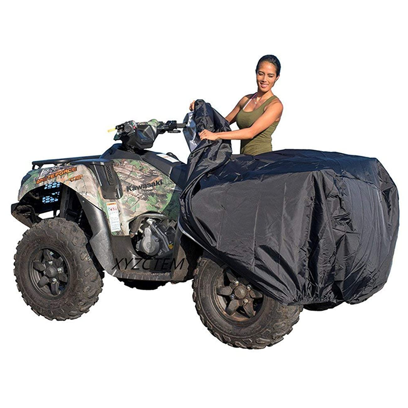 XYZCTEM Waterproof ATV Cover, Heavy Duty Black Protects 4 Wheeler From Snow Rain or Sun, Large Universal Size Fits 103 inch For Most Quads