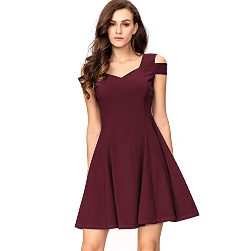 InsNova Women s Cold Shoulder Little Cocktail Party A-line Skater Dress f7b5b4bc2