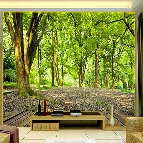 BHXIAOBAOZI behang fotobehang Custom 3D wandschilderij behang wandbespanning pastelorale bos natuur landschap achtergrond voor de woonkamer sofa Tv achtergrond slaapkamer muur decoratie (-Bh0311) 250cm(W)×160cm(H)