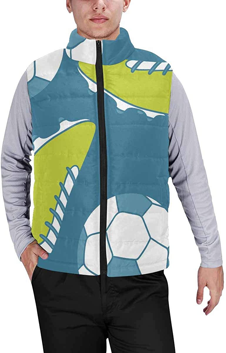InterestPrint Men's Casual Sleeveless Coats with Personality Design Snowman Doodle