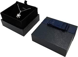 Bearda Necklace Gift Box - Upgrade Premium Hard Leather Cover Soft Velvet Interior Pad Pendant Display Jewelry Storage Case with Elegant Bowknot for Wedding, Birthday, Anniversary, Collectio (Blue)