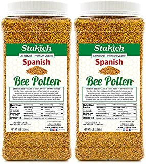 Stakich Spanish BEE Pollen GRANULES 10 lb (160 oz) - 100% Pure, Natural, Unprocessed - 2 Pack of 5 lb