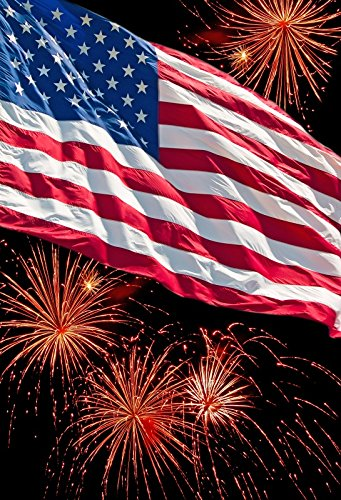 OFILA American Flag Photo Backdrop 3x5ft Fireworks Show Photography Background 4th of July Independence Day Firework Display Photo Shoot American-themed Party Decoration National Flag Day Events Props