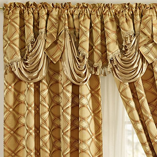 Jacquard Window Curtain Panel Drape with Attached Fancy Valance