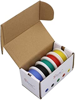 Striveday™ 24 AWG Flexible Silicone Solid Wire Kit Box Electric Wire 24 Gauge Hook up Wire 300V Cable (26.2ft Each Color)