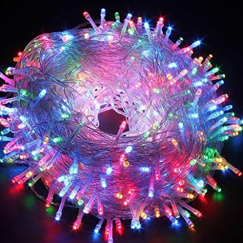 Guirlande de Noel Fée, 10M 80 LED Guirlandes D'arbre de Noël avec 2 Mode D'éclairage Fonctionnant à Piles pour le Jardin de Partie D'arbre de Noël (Multicolore)
