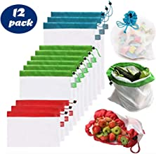 Reuseable Produce Bags - 12 Pack mesh Drawstring Food Bags, eco-Friendly, Small/Medium and Large, Groceries, Toys or Packing
