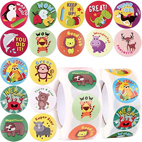 1000pcs Pegatinas de Recompensa Animales Infantiles Motivadoras Profesor Teacher Stickers Niños Papel...