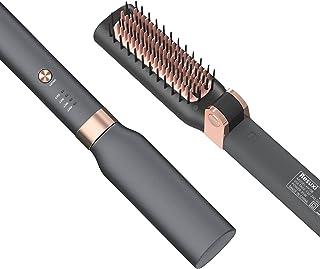 برس صاف کننده مو ، برس صاف کننده مو با عملکرد ضد جوش و خاموش کردن خودکار ، شانه صاف کننده یونی گرم کننده سریع PTC 30s ، شانه موی صاف تاشو قابل حمل برای خانه یا مسافرت