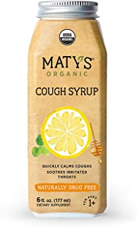 Matys Organic Cough Syrup, 6 Fluid Ounce, Soothes Throats & Calms Dry Coughs with Organic Honey and Immune Boosting Ingredients