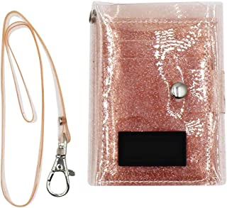 Women Girls Tri-fold Wallet Sequin Transparent Card Case Purse ID Badge Holder Lanyard Neck Strap