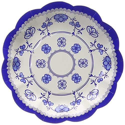 Talking Tables Party Porcelain Blue Small Paper Plates for Birthday Party and Tea Party, Blue and White, 18cm (12 Pack in 3 designs)