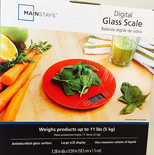 MAINSTAYS Digital Glass Scale, Digital Kitchen Food Scale 11lb/5kg Electronic Cooking Scale, RED BALANZA DIGITAL DE VIDRIO