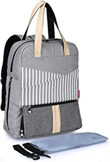 Multifunctional Mom Bag-Large-Capacity Backpack Mummy Bag, Backpack for Mother and Baby, Baby Cushion (Black/Gray)
