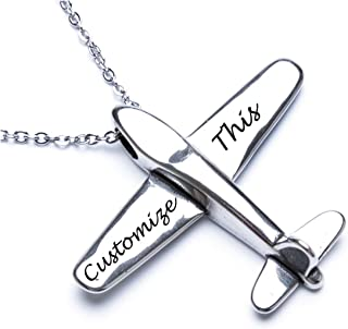 Stereoscopic Aircraft Model Personalized Necklace Custom Engraved Name Pendant Necklace Pilot Gift