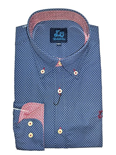 Ridebike Camisa azul con topitos blancos la vespa | custom fit | Diseño del puño a juego con el cuello (S)