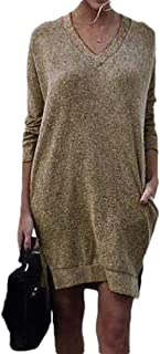 Womens Fashion Sexy Side Split V Neck Pullover Long Sleeve with Pockets Knitted Loose Sweater