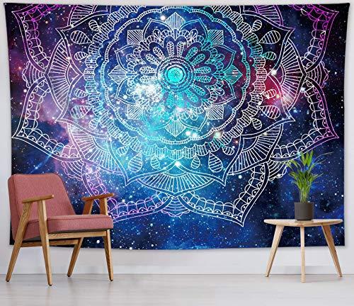 Tapiz de mandala en galaxia con cielo estrellado para colgar en la pared para el dormitorio, tapiz psicodélico para sala de estar, dormitorio, decoración de pared, 59 x 39 pulgadas