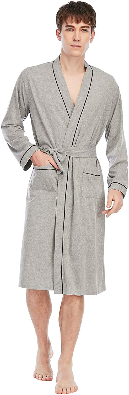 TOP-VIGOR Men's Robe Lightweight Robes for Men with 2 Pockets Bathrobe Soft Sleepwear Mens Loungewear Pajamas