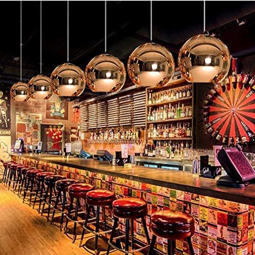 Glas Sphärische Hängelampe Moderne Ball Pendelleuchte, Hängeleuchte Galvanisieren Lampenschirm, E27 LED Lampe Kupfer Spiegel Kronleuchter für Wohnzimmer Esszimmer Schlafzimmer Küche,Rosegold,Ø25cm