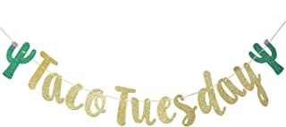 Taco Tuesday Banner Sign Garland for Mexican Fiesta Birthday Party Decorations Bunting Photo Props Backdrop (Gold Glitter)