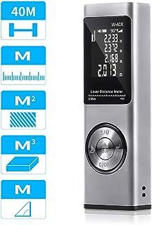 Tooltoo Telemetro Laser 40M, Telémetro Láser Portátil Recargable por USB con luz de Fondo y Nivel Electrónico, Volumen/Área/Pitágoras,Plata
