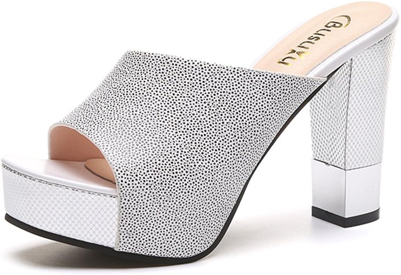 IINFINE Womens Wedge Sandals - Fashion Summer Rhinestone Platform Slipper Beach shoes