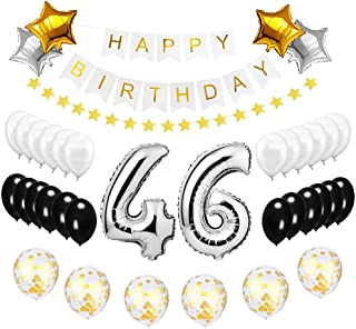Best Happy to 46th Birthday Balloons Set - High Quality Birthday Theme Decorations for 46 Years Old Party Supplies Silver Black Gold