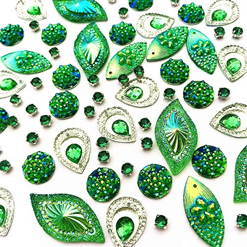 succi shan 180PCS Mixed Shapes Stunning Green Gems Sew On Rhinestones Faceted Flatback Crystal Jewelry for DIY Crafts Decoration