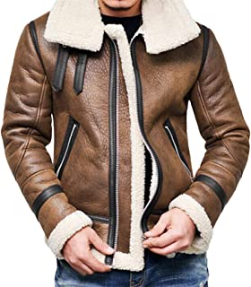 Forthery-Men Faux Fur Hooded Winter Warm Fleece Lined Down Jackets Coat