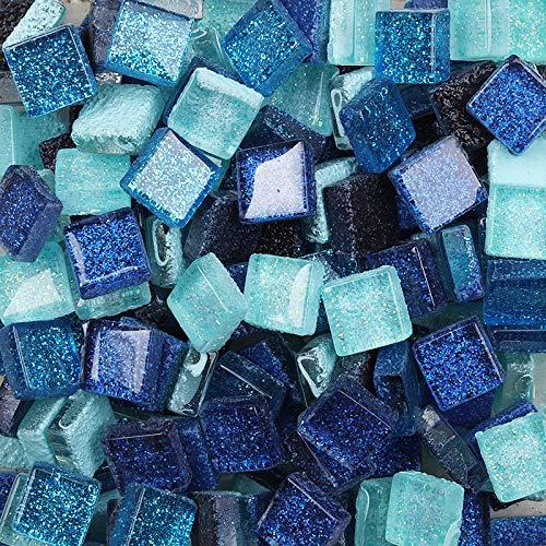 Mattonelle di mosaico di colore misto di mosaico pezzi quadrati di vetro glitter cristallo mosaico piastrelle per fai da te arte artigianato decorazione 200g, 1x1 cm