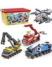 burgkidz Bloques de Construcción para Niños, Vehículos de Ensamblaje de Transformación 6 En 1 En 28 Modelos Diferentes, 1058 Piezas Juguetes de Construcción de Ladrillos Creativos