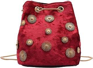 Ulisty Damen Klein Samt Eimer Tasche Mini Schultertasche Kettenriemen Umhängetasche Handtasche Tägliche Tasche rot