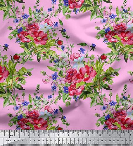 Soimoi Sewing Craft Viskose Stoff mit Blumenmuster 115 GSM 58 Zoll breit Material durch Das Messgerät - Pink