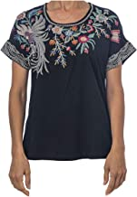 Johnny Was Bisous Raw Black Tee Embroidered Flower Shirt Bird Floral Medium New