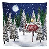 Allenjoy Winter Snowing Night Landscape Forest Backdrop Christmas Wonderland North Pole Moon Snowflake Snow Scene Pine Kids Newborn Photo Booth Props Baby Shower 8x8ft Photography Background