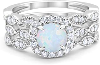Blue Apple Co. Halo Art Deco Three Piece Wedding Engagement Bridal Set Ring Band Solid 925 Sterling Silver Choose Color