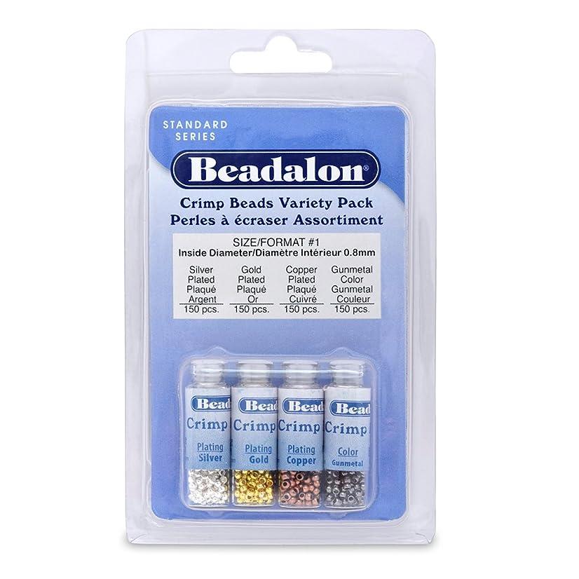 Artistic Wire Beadalon Crimp Bead Variety Pack #1 Nickel Free Silver, Gold, Copper, Gunmetal 600 Piece
