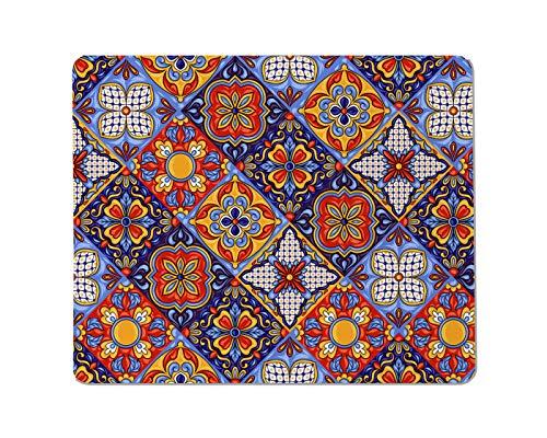 Yeuss Spaanse emaille rechthoekige anti-slip Mousepad Mexicaanse talavera tegel patroon. Etnische volksdecoratie. Italiaans aardewerk Gaming muismat 200mm x 240mm