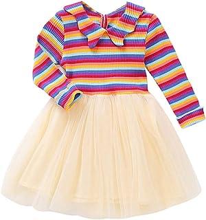 Kobay- Mädchen Kobay Kleinkind Baby Kinder Mädchen Regenbogen gestreiften Patchwork Tüll Kleid Freizeitkleidung Kinder Langarm Regenbogen Streifen Nähen Mesh Kleid Prinzessin Rock 12M-4Y